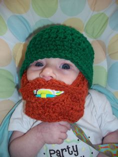 St Patrick's Day Baby Beard Beanie  0 to 3mos by browneyedgirl1489, $25.00