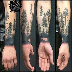 Bear Walking In Forest Tree Tattoo Idea