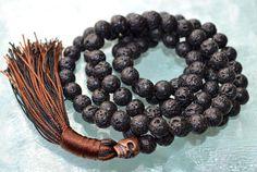 Solar Plexus Third Chakra Copper Skull Basalt Lava rock Mala Beads for Self Esteem, Strong Will power, Vitality, Desire, Identity, Vitality