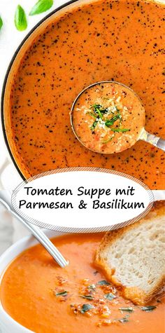 Tomaten Suppe mit Parmesan und Basilikum Tomato soup with parmesan and basil Chicken Parmesan Recipes, Easy Chicken Recipes, Easy Dinner Recipes, Easy Meals, Parmesan Soup, Stuffing Recipes, Soup Recipes, Vegetarian Recipes, Healthy Recipes