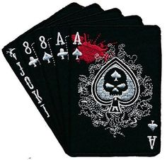 "Currently, the dead man's hand is described as a two-pair poker hand consisting of the black aces and black eights. Along with an unknown ""hole"" card, these were the cards reportedly held by ""Old West Velcro Patches, Cool Patches, Pin And Patches, Biker Patches, Airsoft, Dead Mans Hand Tattoo, Poker, Tactical Patches, Tactical Gear"