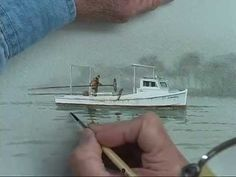 This painting features a single work-boat subject and a very simplified background...due to fog. This gives a very different atmosphere to the painting as op...