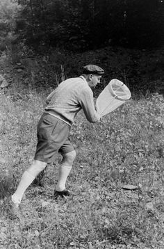 Vladimir Nabokov hunting butterflies, Ithaca, New York, 1958  Photo: Carl Mydans, LIFE