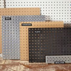 "Beyond Hardboard Most home centers carry only hardboard pegboard, but you'll find other materials by searching online for ""metal pegboard"" or ""plastic pegboard."" Garagenstauraum Organize Anything with Pegboard: 14 Ideas and Tips Plastic Pegboard, Pegboard Craft Room, Pegboard Garage, Metal Pegboard, Garage Tool Storage, Kitchen Pegboard, Craft Rooms, Garage Storage Solutions, Garage Art"