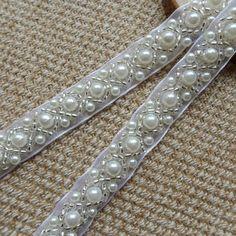 Beaded Lace Trim Ivory Pearl Beaded Trim 36 long   Etsy Beaded Trim, Beaded Lace, Lace Trim, Jewelry Sets, Wedding Belts, Wedding Dress, Wedding Stuff, Walmart Jewelry, Lace
