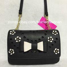 New Betsey Johnson Flower Bow Crossbody Purse Handbag Black Bone White BR24200   eBay
