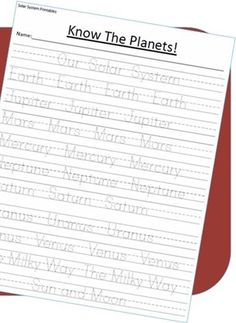 Free Solar System Handwriting Printable