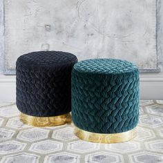 Luxurious Diana Pouf in Velvet and Brass Plinth by Casa Botelho