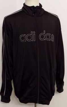 Adidas Men's Jacket Black Gray Front Zip Spell Out Logo Size XL #Adidas #TrackJacket