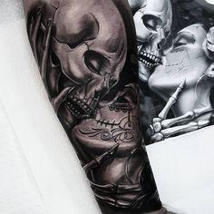 Afbeeldingsresultaat voor la catrina kissing skull sleeve tattoo