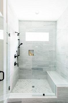Bathroom Shower marble shower with herringbone floor, matte black fixtures, and seamless glass door #marbleshower #herringbonefloor #matteblackfixtures #bathroom