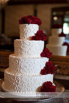 Wedding Cake -Jo's Style Post-Brian Mullins Photography( Beautiful 4 Tier White with Scrolls & Red Roses)