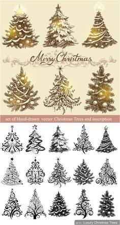 #Vintage #Christmas trees designs #vector
