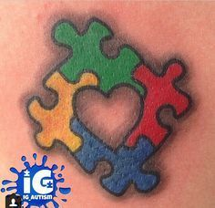 What does puzzle piece tattoo mean? We have puzzle piece tattoo ideas, designs, symbolism and we explain the meaning behind the tattoo. Family Tattoos, Mom Tattoos, Future Tattoos, Body Art Tattoos, Small Tattoos, Tatoos, Wrist Tattoos, Autism Awareness Tattoo, Autism Tattoos