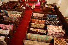 quilts on pews!