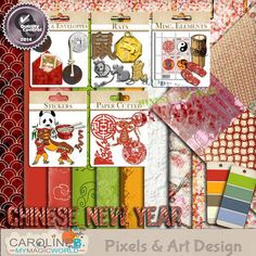 "2008 was the Rat year and this kit is an add-on to my famous Chinese New Year Kit.  Includes : - 10 patterned and plain papers. - 3 famous red envelope and 2 ""special"" Bank Notes (personal use only... LOL !!). - 2 Old Chinese coins + 1 with a string. - 6 red paper cut. - 1 bamboo candle. - 2 Rat drawings, 3 rat sign charms. - 1 pair of red flip-flops. - 1 sheet of special Stamps. - 4 stickers. - 4 words-art. - 1 torn paper edge."