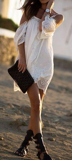 Adorable shoulder off mini boho dress fashion