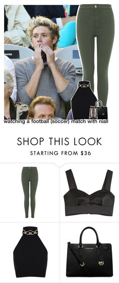 """""""watching a football (soccer) match with niall"""" by zalix ❤ liked on Polyvore featuring Miss Selfridge, McQ by Alexander McQueen, MICHAEL Michael Kors and Breckelle's"""