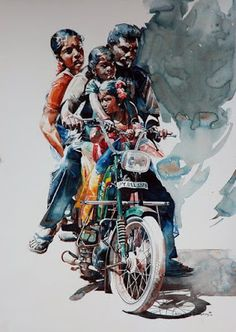 Zebra Art provides the information about the art world. News about painting, photography, illustration, exhibition, sculpture and installation art. Watercolor Artists, Watercolor Portraits, Watercolor Illustration, Watercolor Paintings, Portrait Paintings, Watercolours, Indian Illustration, Abstract Paintings, Oil Paintings