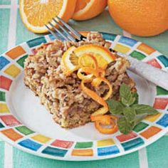 Walnut Orange Coffee Cake Recipe -My sister gave me this recipe about 40 years ago, and I still make it often. Whenever I take it to a gathering, there's rarely a crumb left - everyone loves the delightful orange flavor. -Janice Satanek, Hermitage, Pennsylvania