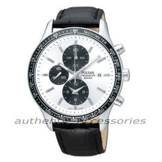 PULSAR by Seiko Chronograph Gents Leather Watch PF8 407 New & Boxed PF8407X1