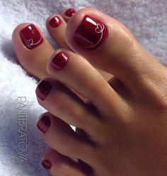 Hair & Glamor Super pedicure designs wedding red nails ideas Wedding Accessories and Wedding Par Pretty Toe Nails, Cute Toe Nails, My Nails, Toe Nail Color, Toe Nail Art, Nail Colors, Pedicure Designs, Toe Nail Designs, Summer Toe Nails