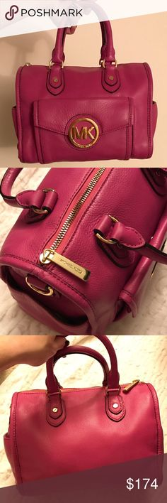 Michael Kors Pink Margo Medium Satchel Pink medium sized Michael Kors Margo satchel with gold hardware. This bag is in great condition as it has only been used a couple times. There are so many pockets - both on the outside and inside, so it's not only the perfect statement piece to any black outfit but it's also practical! Doesn't come with the shoulder strap but it looks better as a satchel anyway 😉 I absolutely love this bag but I have way too many so my loss, your gain! Michael Kors…