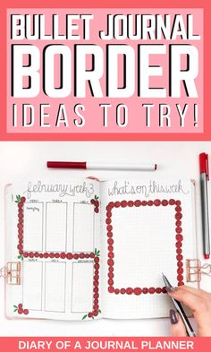 Make your bullet journal spreads look amazing with these brilliant and creative bullet journal border ideas! #bulletjournalborders #bujo #Bulletjournaldoodles #bulletjournalideas #planneraddict #borders Bullet Journal Frames, Bullet Journal Washi Tape, Bullet Journal Headers, Bullet Journal Stencils, Bullet Journal Notebook, Bullet Journal Printables, Sticker Organization, Organization Ideas, Organizing