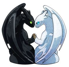 Toothless and Lightfury by on DeviantArt Httyd Dragons, Dreamworks Dragons, Cute Dragons, Galaxy Wallpaper, Disney Wallpaper, Arte Yin Yang, Toothless And Stitch, How To Train Dragon, Dragon Rider