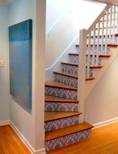 Decorative stairs - I wonder if this would work with contact paper or decals for a rental...