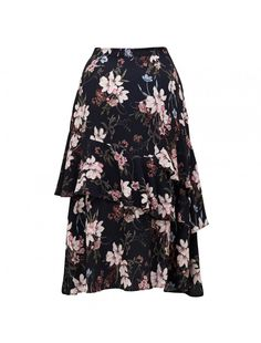 Tara Tierd Ruffle Printed Midi Skirt Pretty Floral/black - Womens Fashion | Forever New