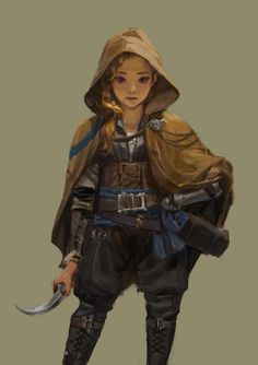 f Halfling Druid midlvl Leather Armor Cloak Sickle female traveler lg Female Character Design, Character Creation, Character Design Inspiration, Character Concept, Character Art, Rogue Character, Concept Art, Dungeons And Dragons Characters, D D Characters