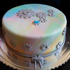 torta, cake s ozubenými kolieskami