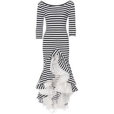 Striped Jersey Maxi Dress ($990) ❤ liked on Polyvore featuring dresses, striped dress, stripe maxi dress, white mid length dress, striped maxi dress and sleeved dresses