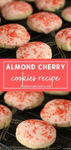 almond cookies Almond Cherry Cookies are perfect for gift giving and snacking this holiday season! Its an almond cookie glazed in cherry frosting with surprise cherry in the middle. You should try these festive and impressive cookies now! New Year's Desserts, Cookie Desserts, Christmas Desserts, Cookie Recipes, Delicious Desserts, Christmas Cookies, Christmas Holidays, Cookie Favors, Valentine Cookies