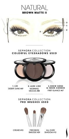 NATURAL: Brown Matte 2 HOW TO. #sephoracollection #sephora #eyeshadow #mostpopularpins #tutorial
