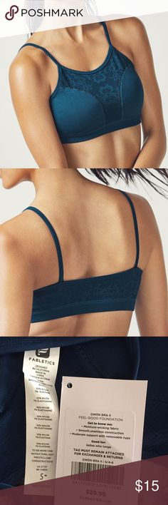 NWT Fabletics Gwen Seamless Bra II, Small Brand new with tags and original packaging, Fabletics Gwen Seamless Bra II in Shoreline, which is a darker teal blue color. Just a little too big for me. Fabletics Intimates & Sleepwear Bras