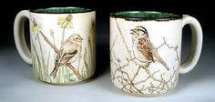 Goldfinch and Sparrow Mugs by Nan Hamilton