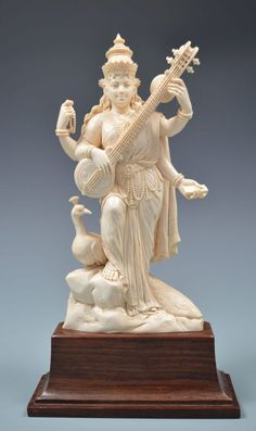Saraswati Statue, Saraswati Goddess, Ganesh Statue, Saraswati Mata, Saraswati Photo, Shiva Art, Krishna Art, Hindu Art, Indian Gods