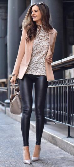what to wear with a nude blazer bag   top   black leggings   heels