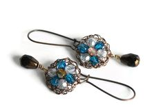 Hand Crochet Antiqued Copper Wire and Czech Glass Bead Earrings by PrayerMonkey  #bedelighted