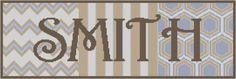 Moderno punto de cruz patrón se diseña en 14 cuenta aida con un tamaño de diseño de 19,29 x 6,43. Por favor suministrar apellidos y opciones de color en notas de compra. Patrón se enviará como archivo PDF se muestra en bloques de color y símbolos con lista de seda, detalles de patrón y base cruz puntada instrucciones en 24-48 horas de la recepción de información de pago/personalización.