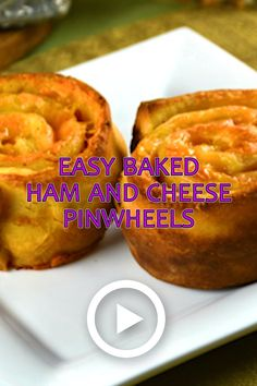 Easy Baked Ham and Cheese Pinwheels by KitchenDivas. These Easy Baked Ham and Ch. Healthy Dessert Recipes, Appetizer Recipes, Appetizers, Ham And Cheese Pinwheels, Baked Ham, Baked Cheese, Homemade Dinner Rolls, Pinwheel Recipes, Clean Eating Snacks