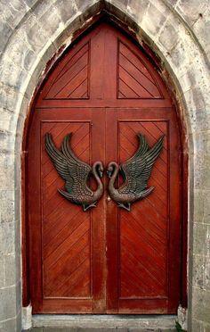 """Drumcliff, County Sligo, Ireland Just look at those """"knockers""""! Cool Doors, The Doors, Unique Doors, Windows And Doors, Door Knobs And Knockers, Door Knockers Unique, Porte Cochere, When One Door Closes, Door Gate"""