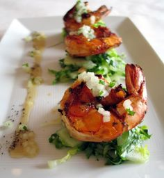 Fine Dining Plate Presentation | Grilled prawn and melon salad, mint crackle pepper and lime