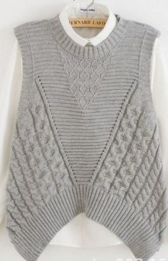 female grey pink sleeveless sweater vest cable twisted loose jumper knitwear pullover lady irregular hem back hollow out tops Fall Sweaters, Sweaters For Women, Summer Knitting, Knit Vest, Knit Fashion, Knit Patterns, Knitwear, Knit Crochet, Clothes For Women