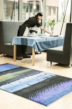Turn your eyes to the horizon. This pattern creates a calm atmosphere that is easy to get absorbed in. Horizon will bring nature near you in a modern way. #lindstromgroup #matservices #mat #designmat #interiordesign #carpet #companyimage #brandimage #horizon #matrentalservice #rental #customerspecificdesignmat #image  #restauranttextileservice #tablecloth #linen #workwearservices #professionalworkwear #catering