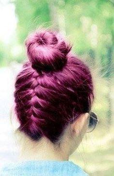 Love the colour and the upside-down braid Upside Down French Braid, Cute Hair Colors, Great Hair, Amazing Hair, Mermaid Hair, Purple Hair, Hair Designs, Pretty Hairstyles, Fashion Beauty
