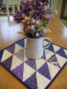 Purple and Cream Quilted Table Topper by SweetDreamsbyMoosie, $20.00