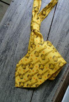 Necktie - Yellow and Gold Skeleton Key Print by NoveltyHaberdashery on Etsy